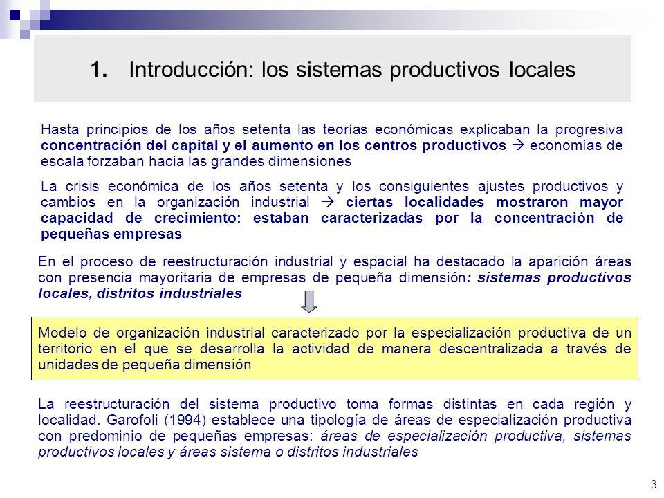 1. Introducción: los sistemas productivos locales