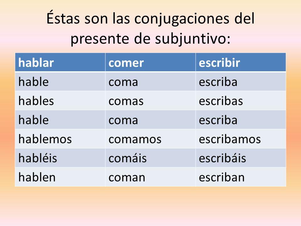 Éstas son las conjugaciones del presente de subjuntivo: