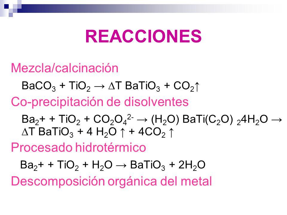 REACCIONES Mezcla/calcinación BaCO3 + TiO2 → ∆T BaTiO3 + CO2↑