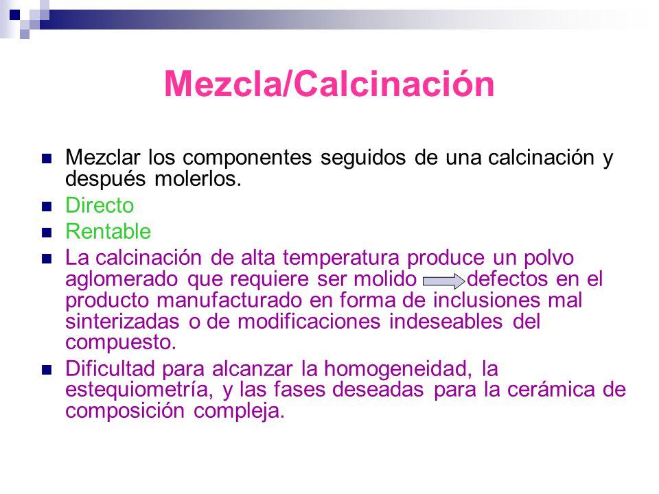 Mezcla/Calcinación Mezclar los componentes seguidos de una calcinación y después molerlos. Directo.