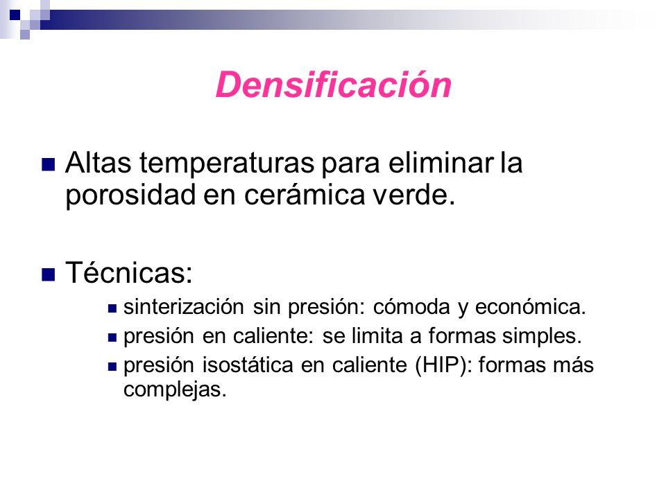 Densificación Altas temperaturas para eliminar la porosidad en cerámica verde. Técnicas: sinterización sin presión: cómoda y económica.