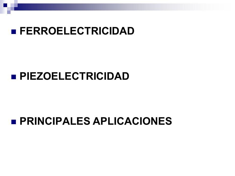 FERROELECTRICIDAD PIEZOELECTRICIDAD PRINCIPALES APLICACIONES