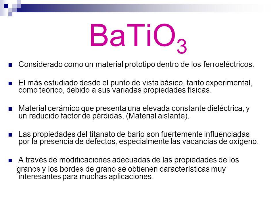 BaTiO3 Considerado como un material prototipo dentro de los ferroeléctricos.