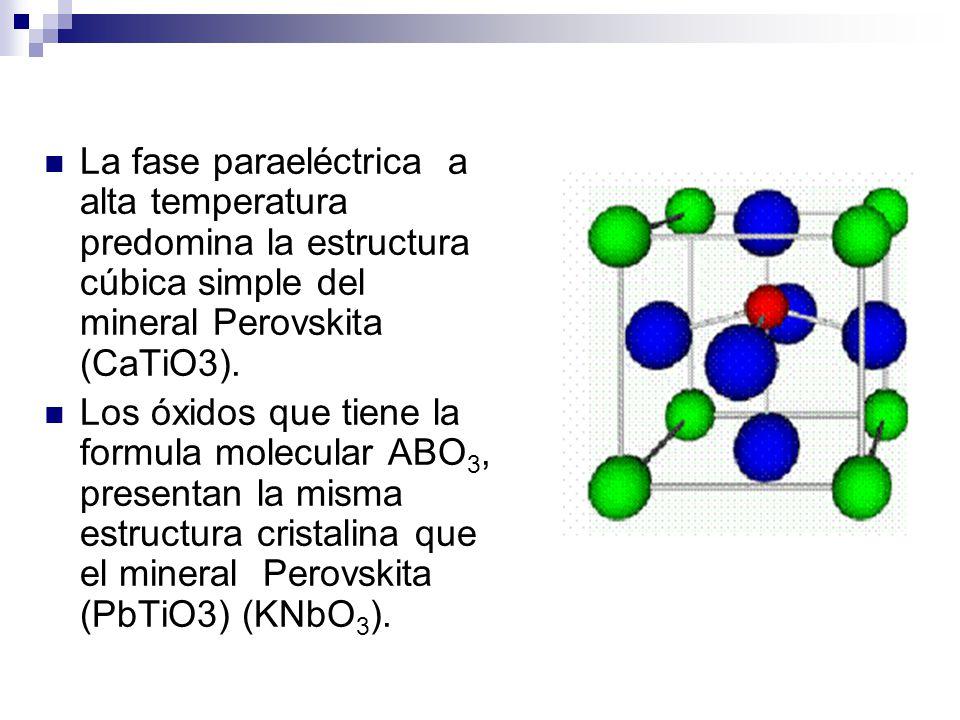 La fase paraeléctrica a alta temperatura predomina la estructura cúbica simple del mineral Perovskita (CaTiO3).
