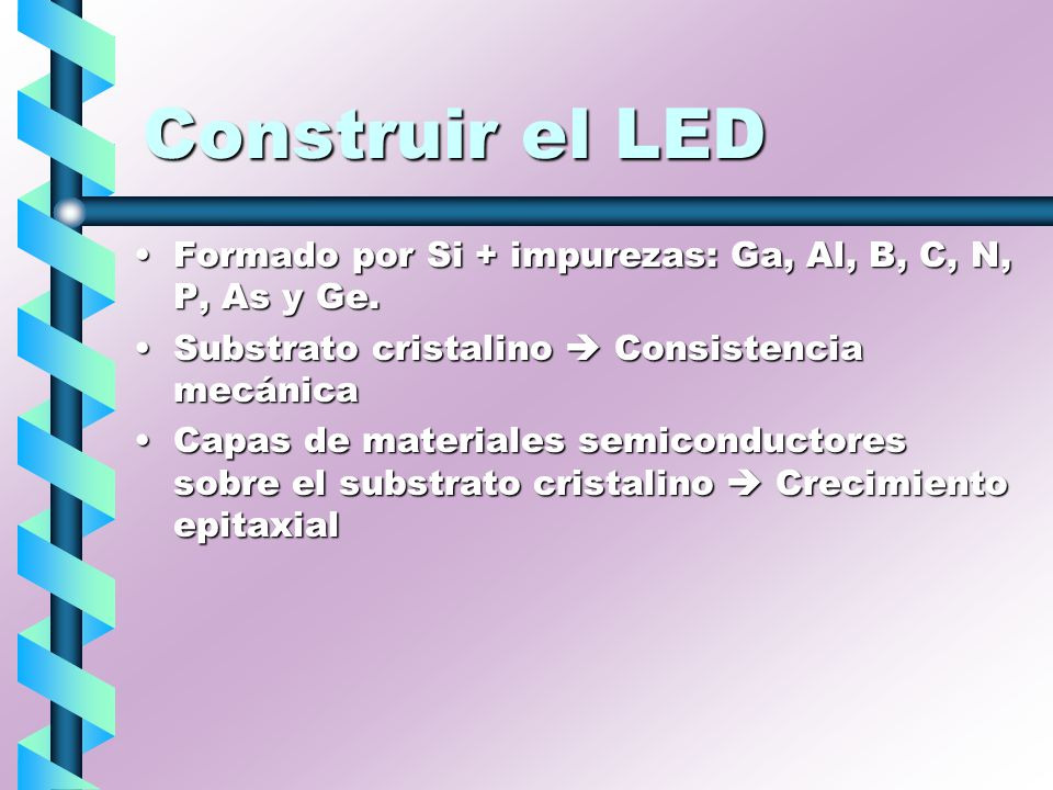 Construir el LED Formado por Si + impurezas: Ga, Al, B, C, N, P, As y Ge. Substrato cristalino  Consistencia mecánica.