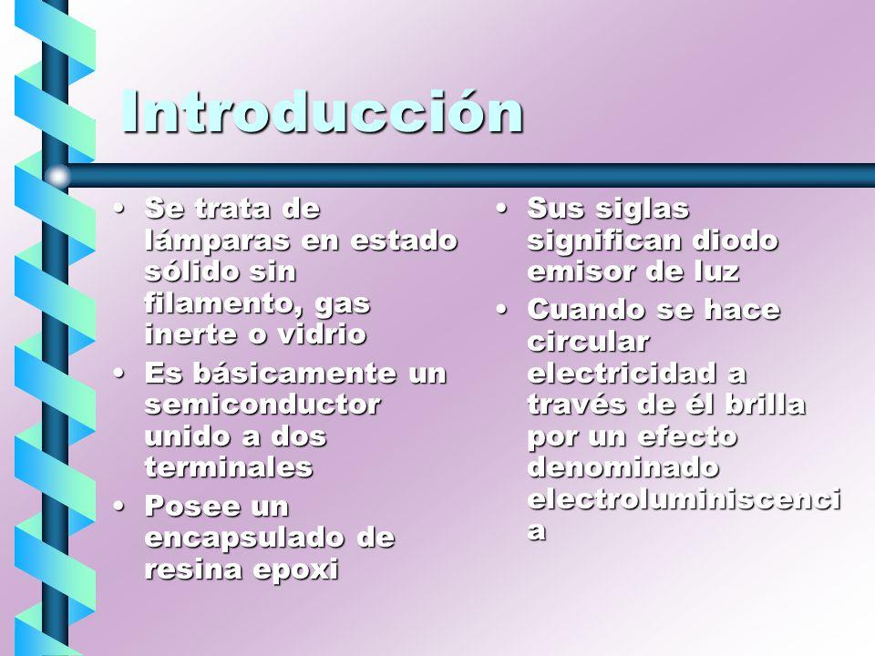 Introducción Se trata de lámparas en estado sólido sin filamento, gas inerte o vidrio. Es básicamente un semiconductor unido a dos terminales.