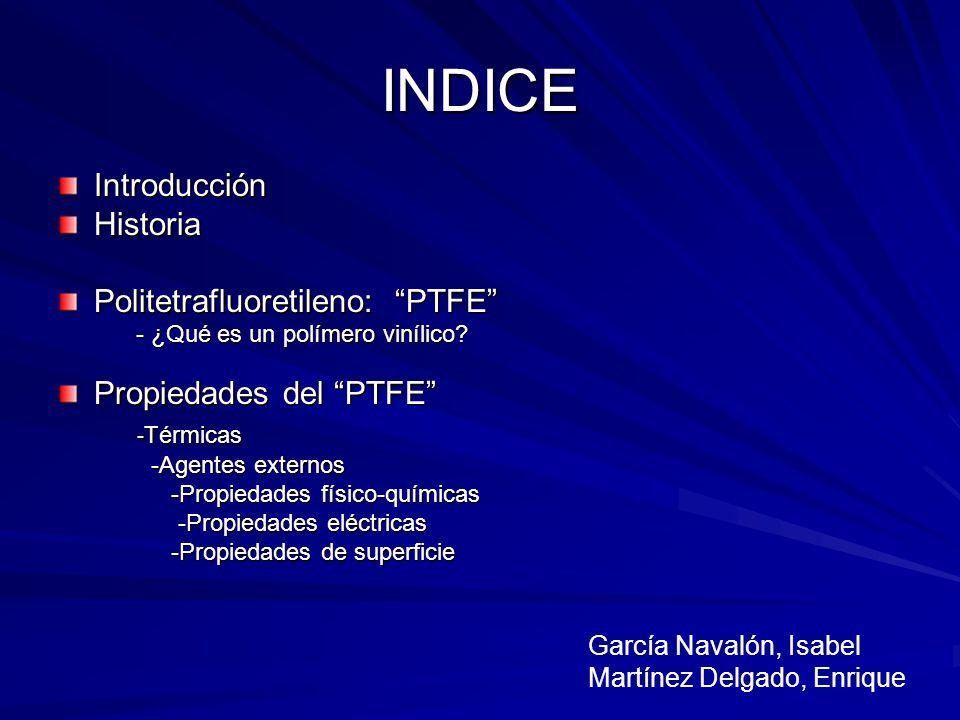 INDICE Introducción Historia Politetrafluoretileno: PTFE