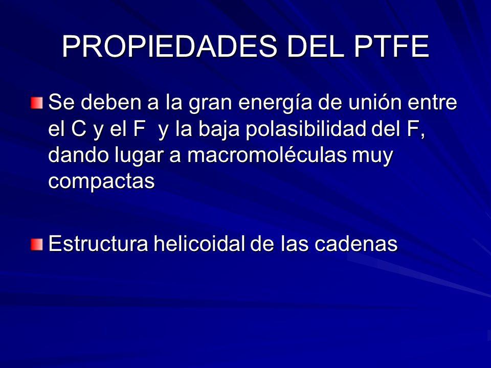 PROPIEDADES DEL PTFE Se deben a la gran energía de unión entre el C y el F y la baja polasibilidad del F, dando lugar a macromoléculas muy compactas.