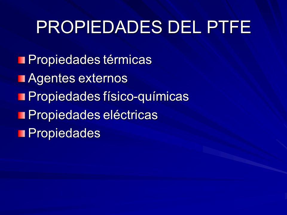 PROPIEDADES DEL PTFE Propiedades térmicas Agentes externos