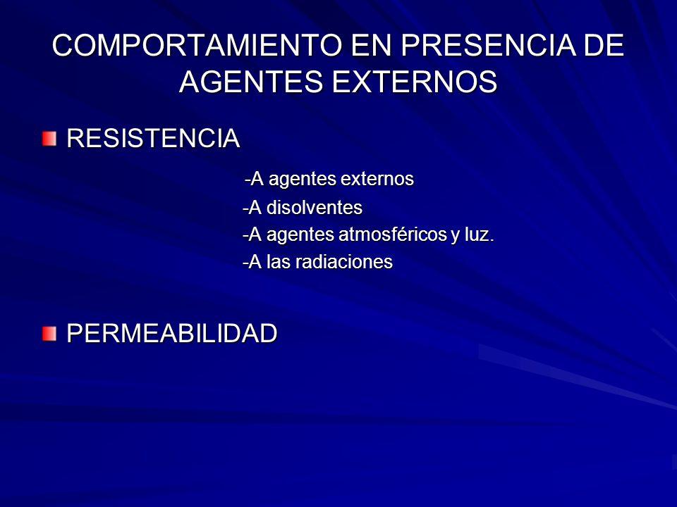 COMPORTAMIENTO EN PRESENCIA DE AGENTES EXTERNOS