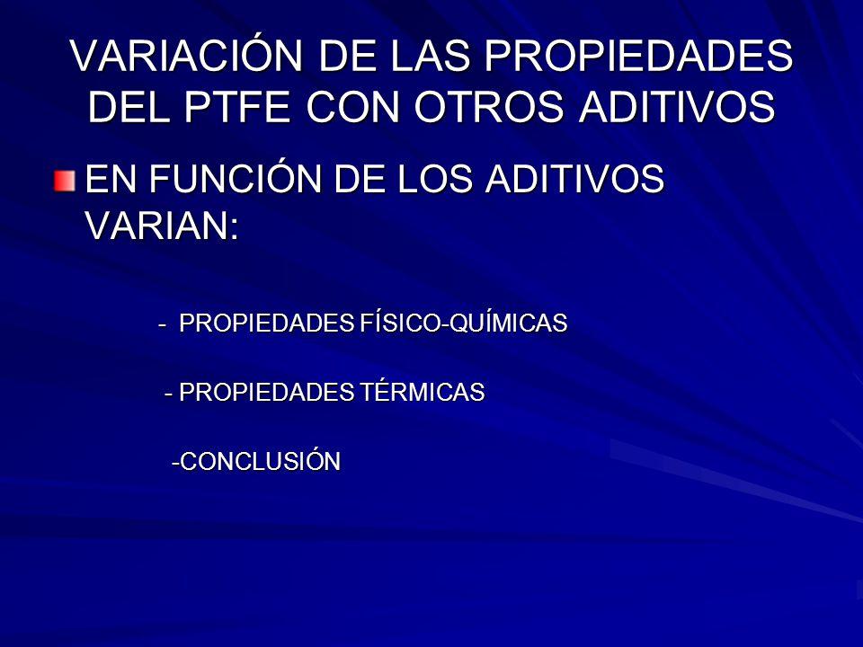 VARIACIÓN DE LAS PROPIEDADES DEL PTFE CON OTROS ADITIVOS