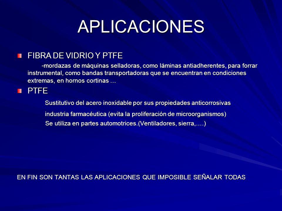 APLICACIONES FIBRA DE VIDRIO Y PTFE PTFE