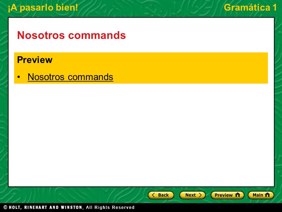 Nosotros commands Preview Nosotros commands