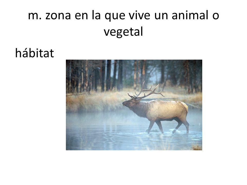 m. zona en la que vive un animal o vegetal