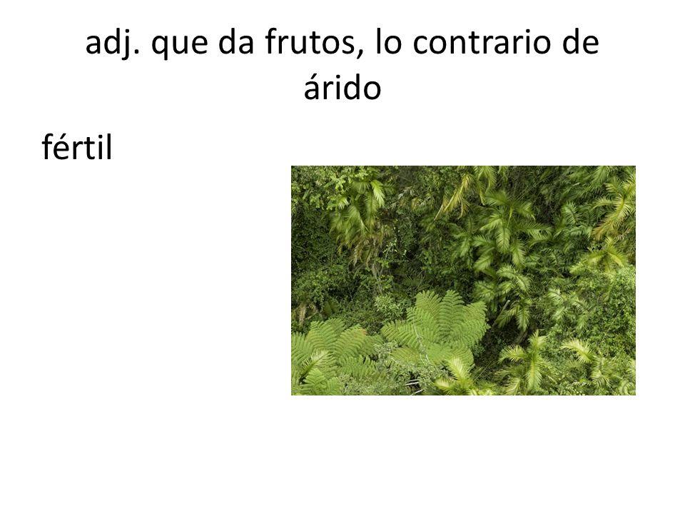 adj. que da frutos, lo contrario de árido