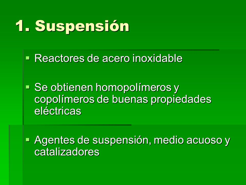 1. Suspensión Reactores de acero inoxidable