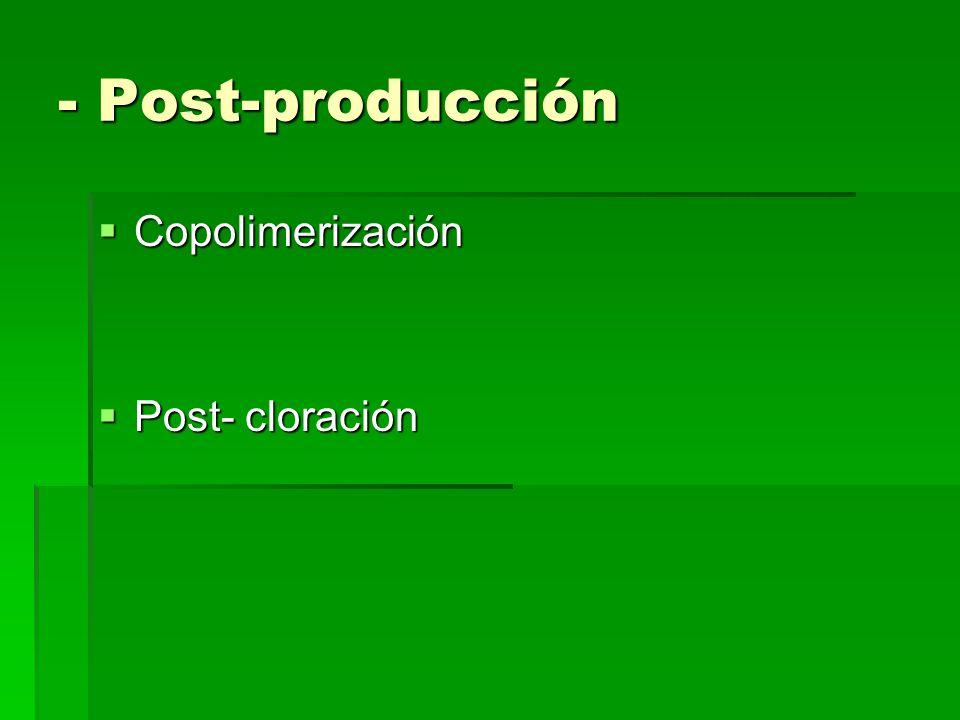 - Post-producción Copolimerización Post- cloración