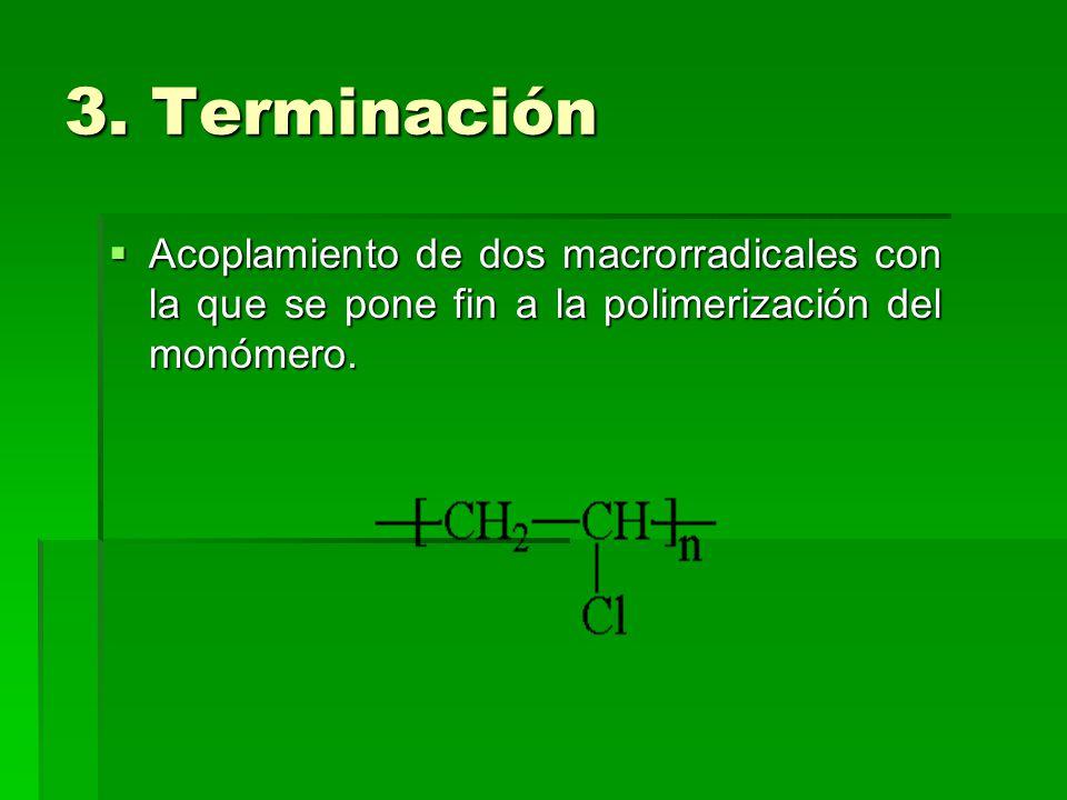 3. Terminación Acoplamiento de dos macrorradicales con la que se pone fin a la polimerización del monómero.