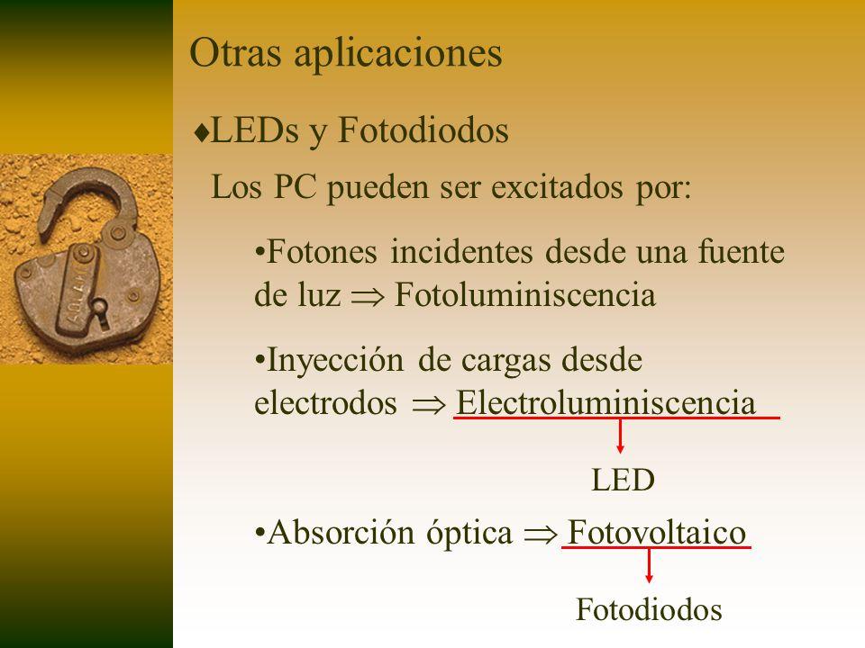 Otras aplicaciones LEDs y Fotodiodos Los PC pueden ser excitados por: