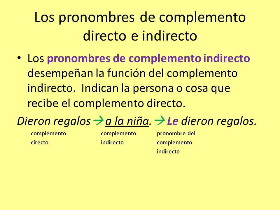 Los pronombres de complemento directo e indirecto
