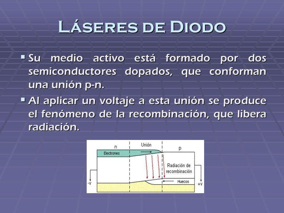 Láseres de Diodo Su medio activo está formado por dos semiconductores dopados, que conforman una unión p-n.
