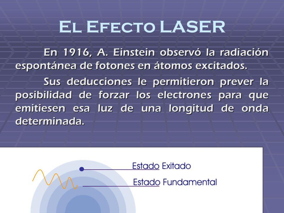 El Efecto LASER En 1916, A. Einstein observó la radiación espontánea de fotones en átomos excitados.