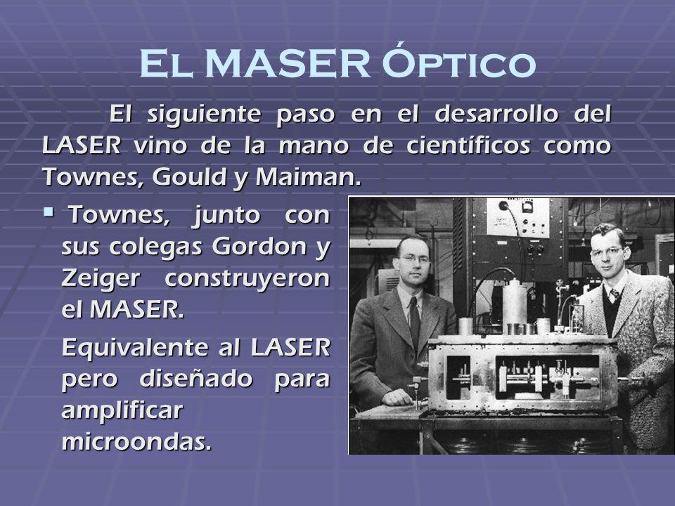 El MASER Óptico El siguiente paso en el desarrollo del LASER vino de la mano de científicos como Townes, Gould y Maiman.