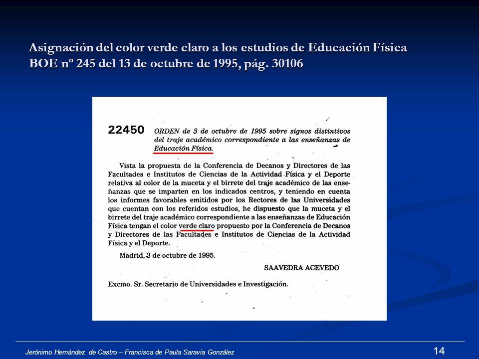 Asignación del color verde claro a los estudios de Educación Física BOE nº 245 del 13 de octubre de 1995, pág. 30106