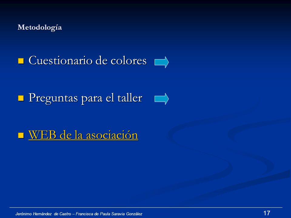 Cuestionario de colores Preguntas para el taller WEB de la asociación