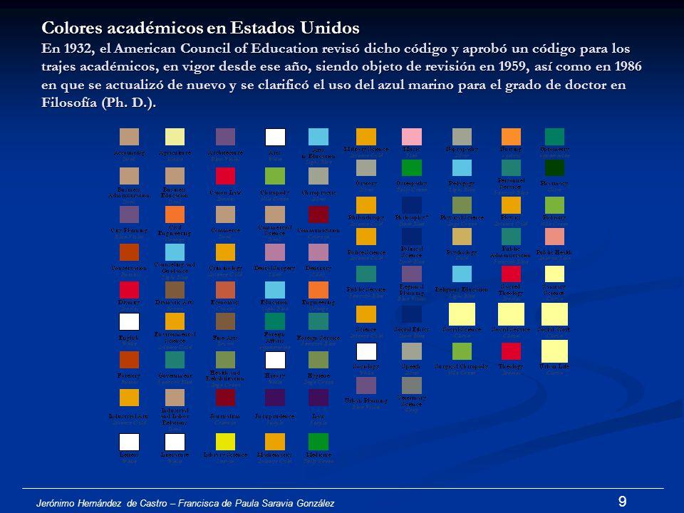Colores académicos en Estados Unidos En 1932, el American Council of Education revisó dicho código y aprobó un código para los trajes académicos, en vigor desde ese año, siendo objeto de revisión en 1959, así como en 1986 en que se actualizó de nuevo y se clarificó el uso del azul marino para el grado de doctor en Filosofía (Ph. D.).