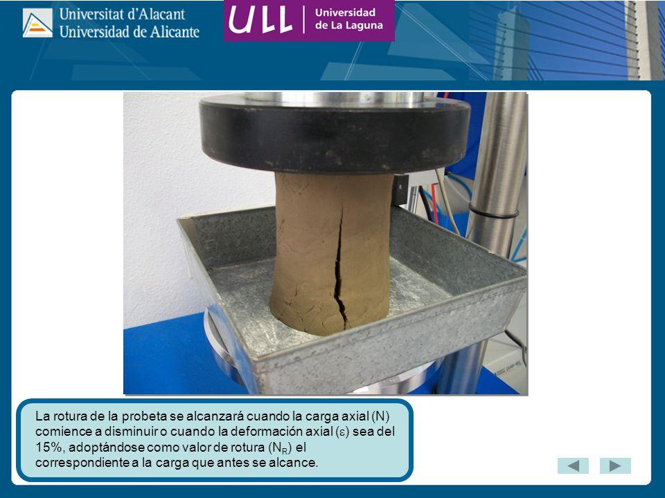 La rotura de la probeta se alcanzará cuando la carga axial (N) comience a disminuir o cuando la deformación axial () sea del 15%, adoptándose como valor de rotura (NR) el correspondiente a la carga que antes se alcance.