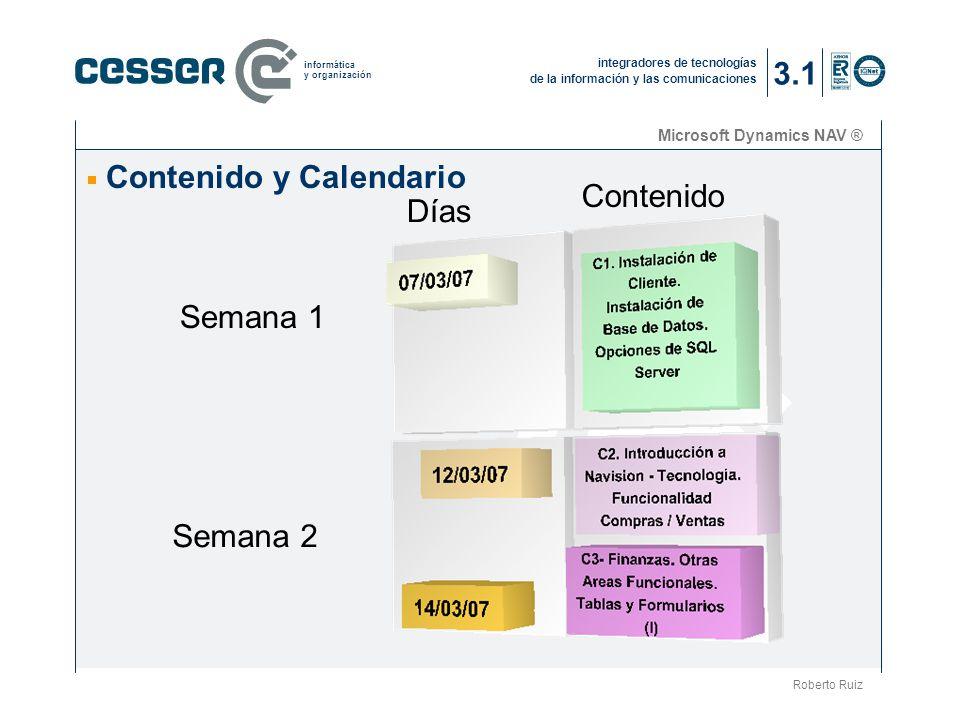 Contenido y Calendario Contenido Días