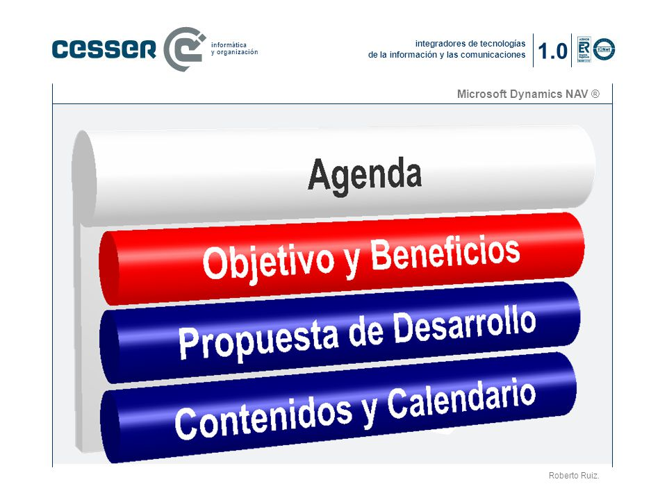 1.0 Microsoft Dynamics NAV ® La compañía (2) Roberto Ruiz.