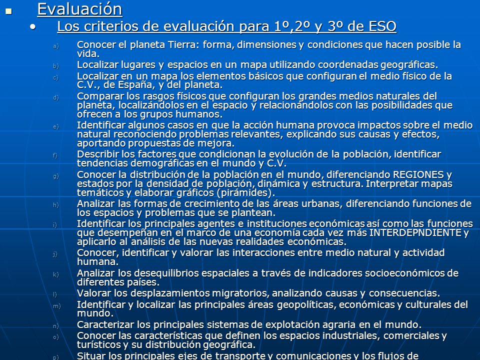 Evaluación Los criterios de evaluación para 1º,2º y 3º de ESO