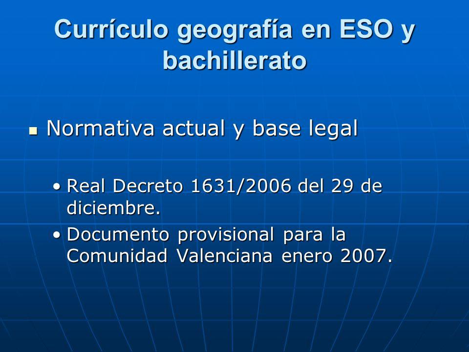 Currículo geografía en ESO y bachillerato
