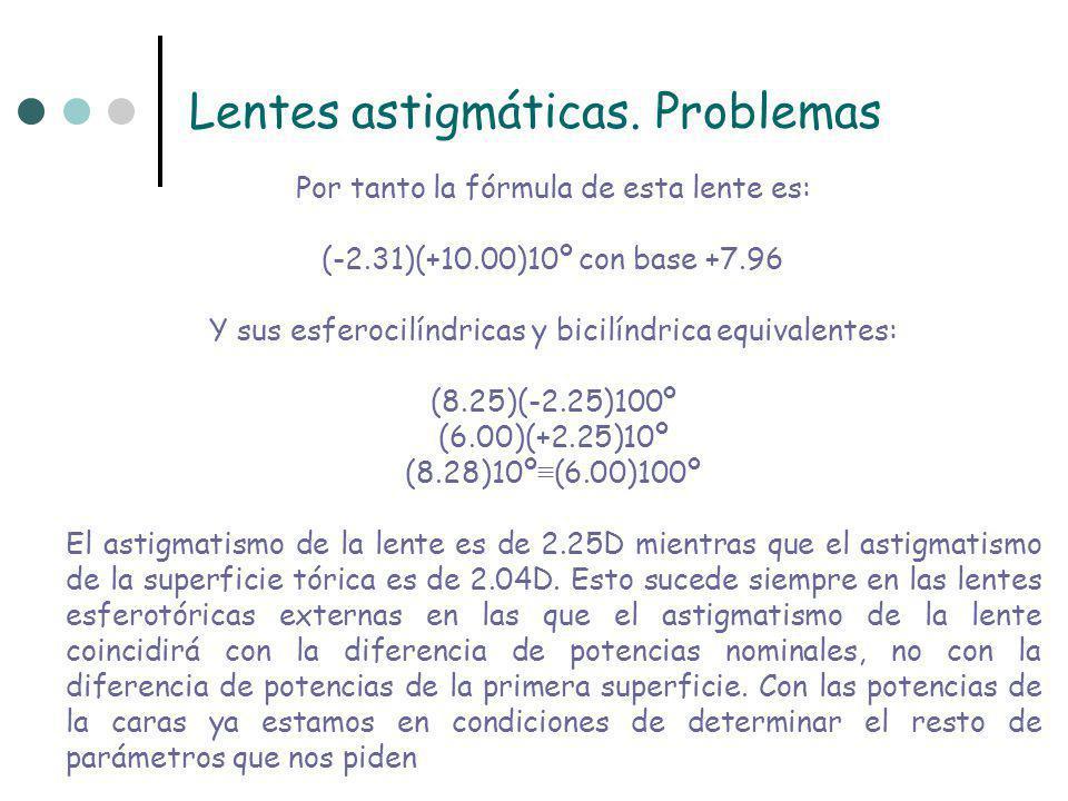 Lentes astigmáticas. Problemas