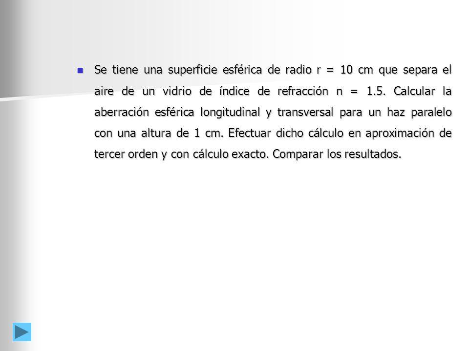 Se tiene una superficie esférica de radio r = 10 cm que separa el aire de un vidrio de índice de refracción n = 1.5.