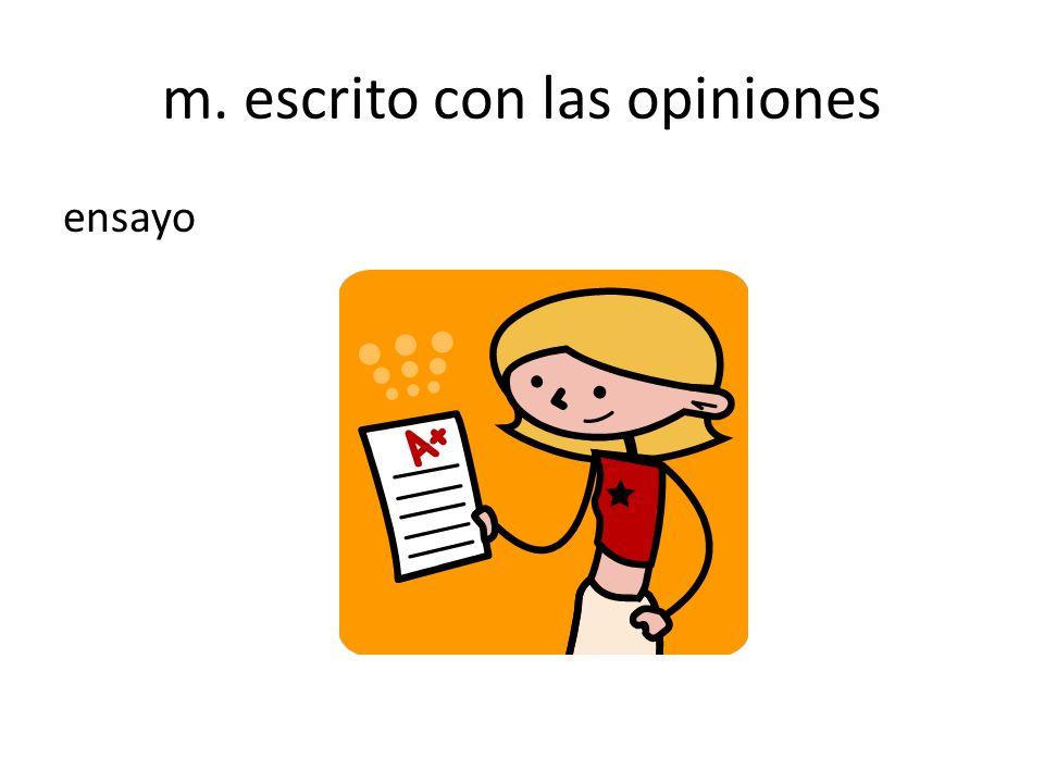 m. escrito con las opiniones