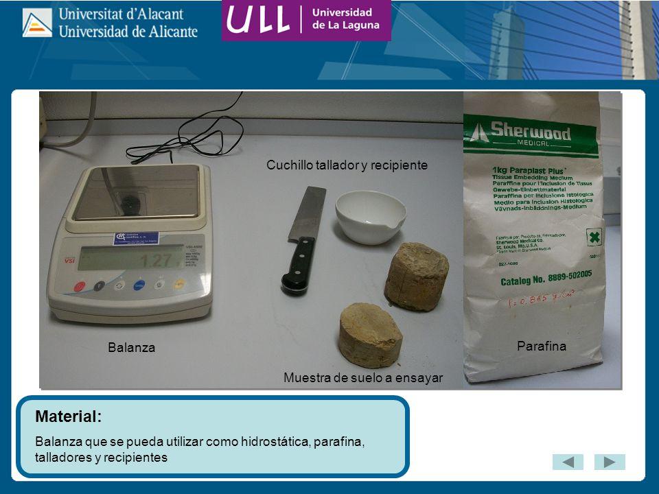 Material: Cuchillo tallador y recipiente Balanza Parafina