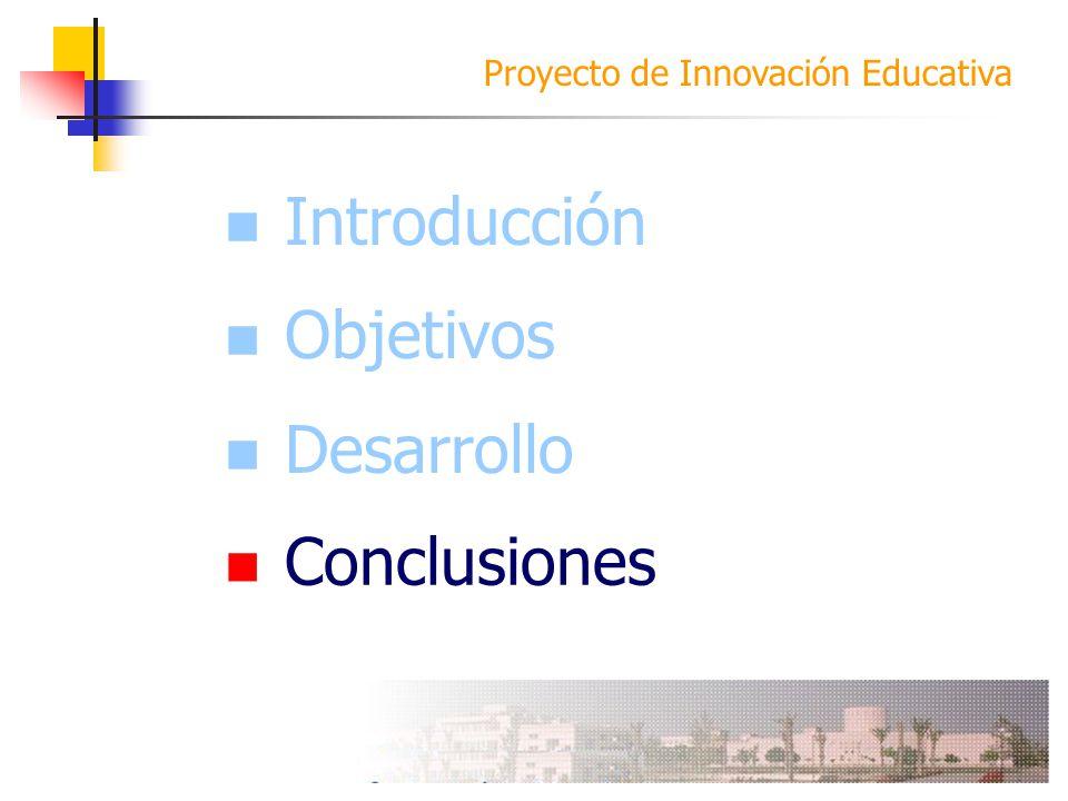 Introducción Objetivos Desarrollo Conclusiones Conclusiones