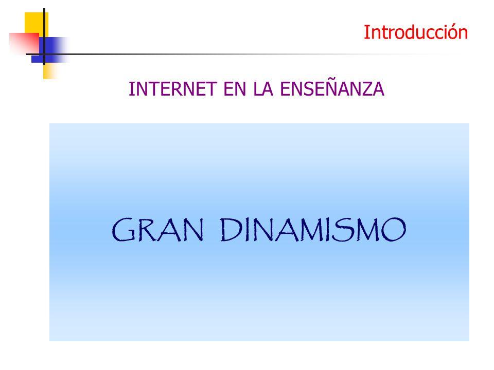 GRAN DINAMISMO Introducción INTERNET EN LA ENSEÑANZA