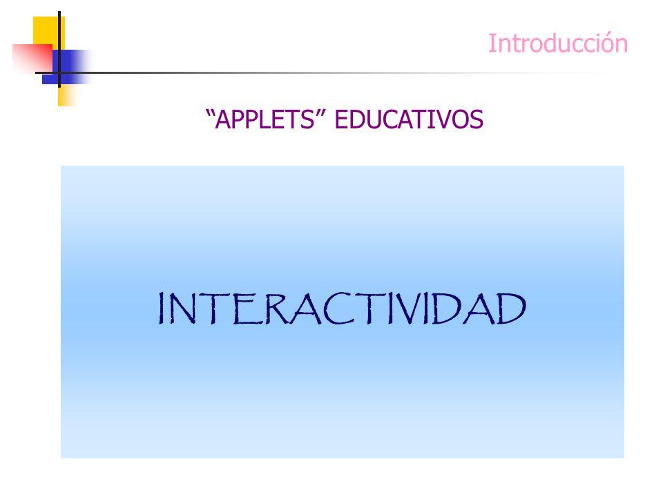 INTERACTIVIDAD Introducción APPLETS EDUCATIVOS