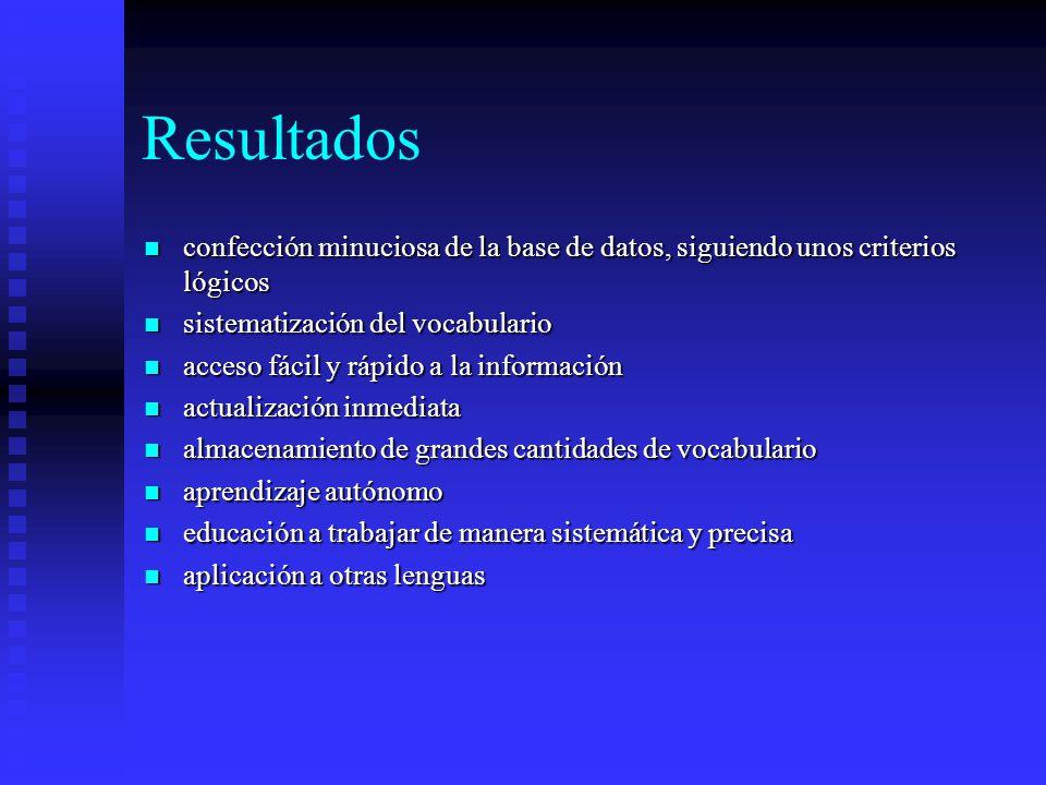 Resultados confección minuciosa de la base de datos, siguiendo unos criterios lógicos. sistematización del vocabulario.