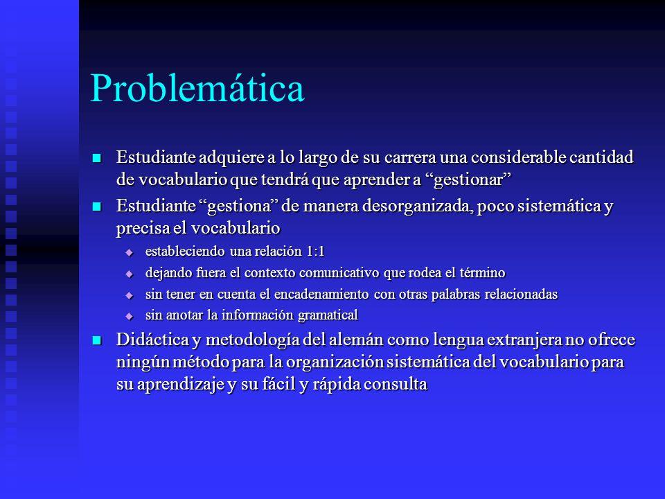 Problemática Estudiante adquiere a lo largo de su carrera una considerable cantidad de vocabulario que tendrá que aprender a gestionar