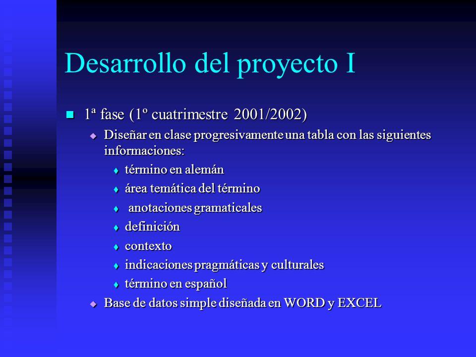 Desarrollo del proyecto I