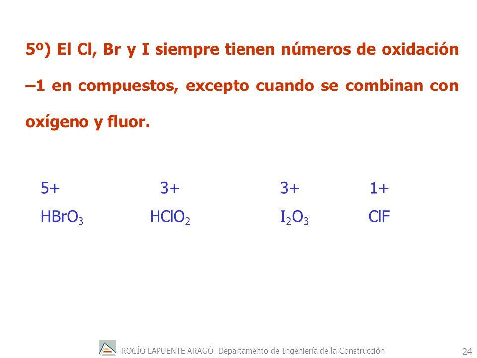 5º) El Cl, Br y I siempre tienen números de oxidación –1 en compuestos, excepto cuando se combinan con oxígeno y fluor.