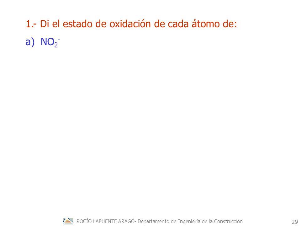 1.- Di el estado de oxidación de cada átomo de: