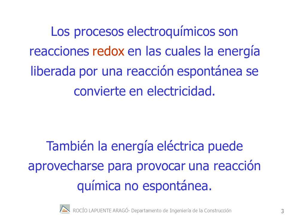 Los procesos electroquímicos son reacciones redox en las cuales la energía liberada por una reacción espontánea se convierte en electricidad.