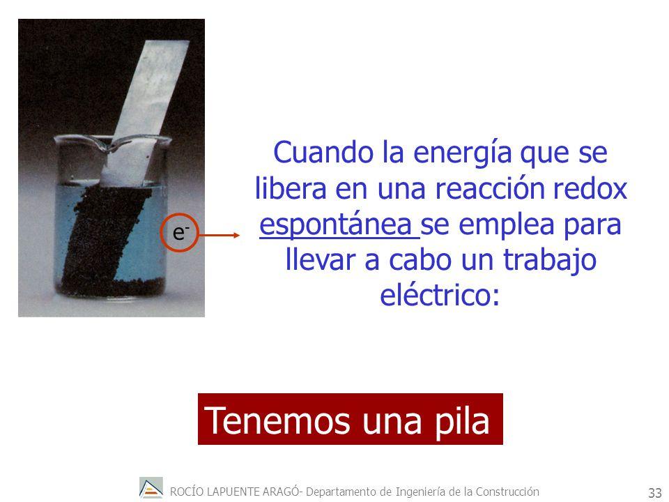 Cuando la energía que se libera en una reacción redox espontánea se emplea para llevar a cabo un trabajo eléctrico: