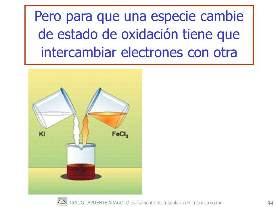 Pero para que una especie cambie de estado de oxidación tiene que intercambiar electrones con otra